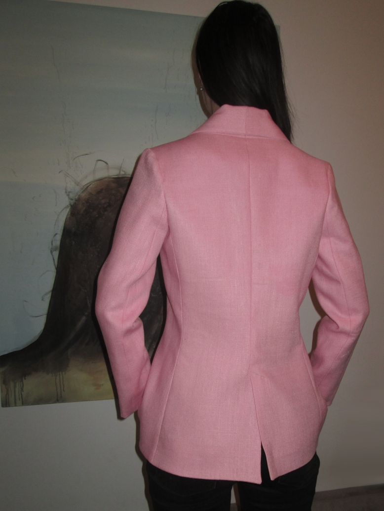 pink blazer back