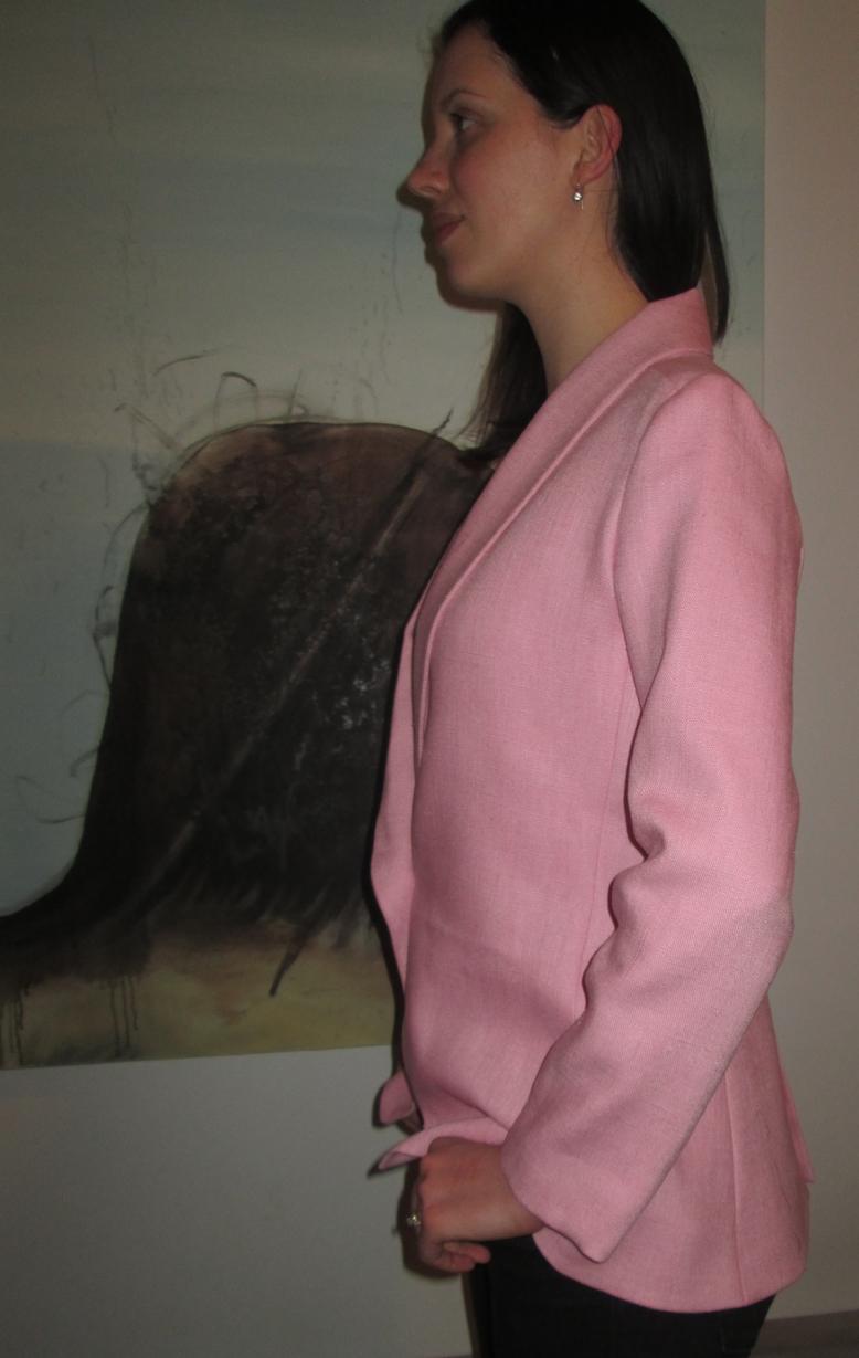 pink blazer left side