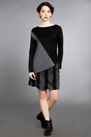 black-grey knit top