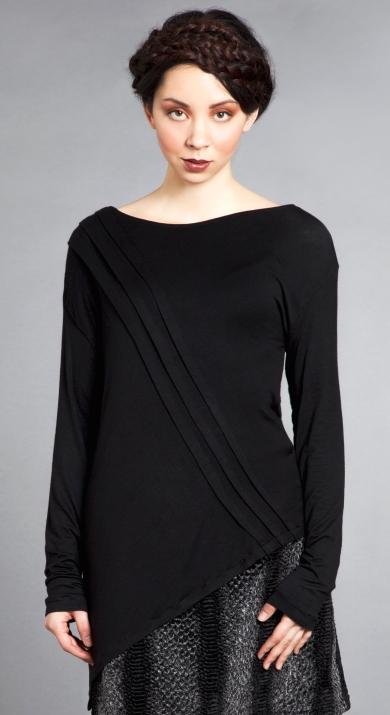 black knit top asymmetrical cropped