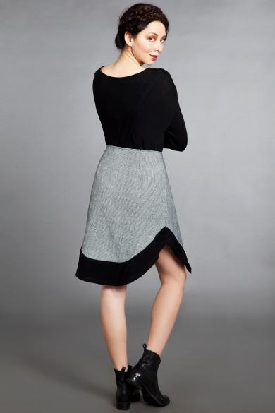 grid wrap skirt back