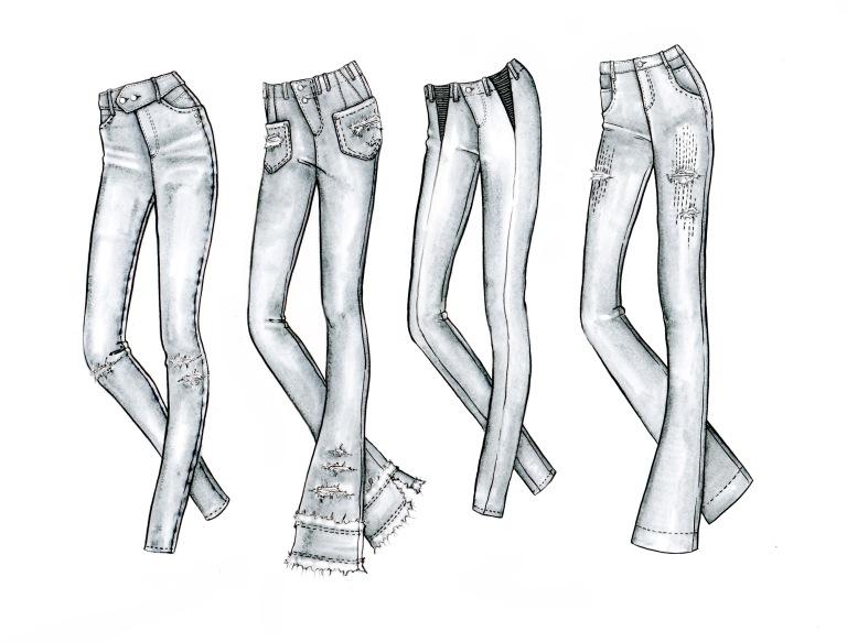 Rachel Walters Jeans Hand Sketches